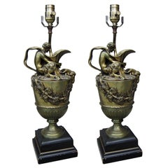 Pair of Late 19th Century English Bronze Wine Ewer Lamps