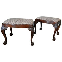 Pair of Late 19th Century English Chippendale Mahogany Benches