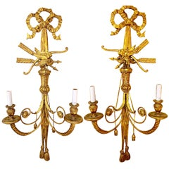 Pair of Late 19th Century English Regency Style Carved Gilt Eagle Sconces