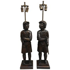 Pair of Late 19th Century English Warrior Lamps