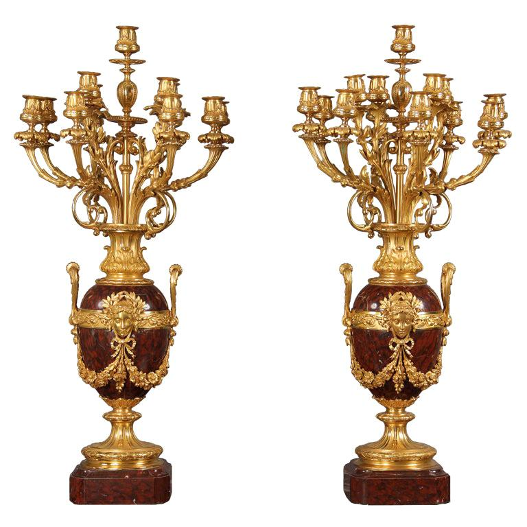 Pair of Late 19th Century French 13-Light Candelabra For Sale