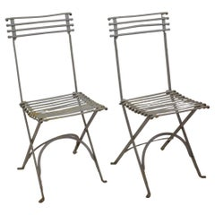 Pair of Late 19th Century French Arras Style Iron Folding Garden Chairs
