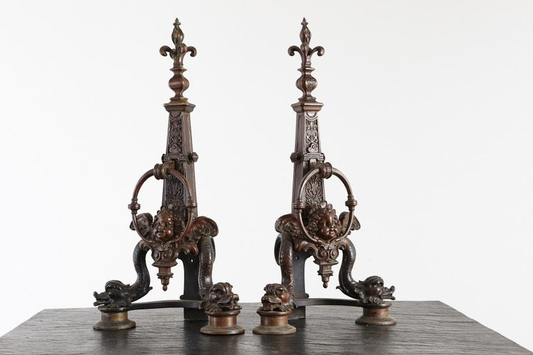 Pair of Late 19th Century French Baroque Bronze Andirons with Dolphin and Putti For Sale 3