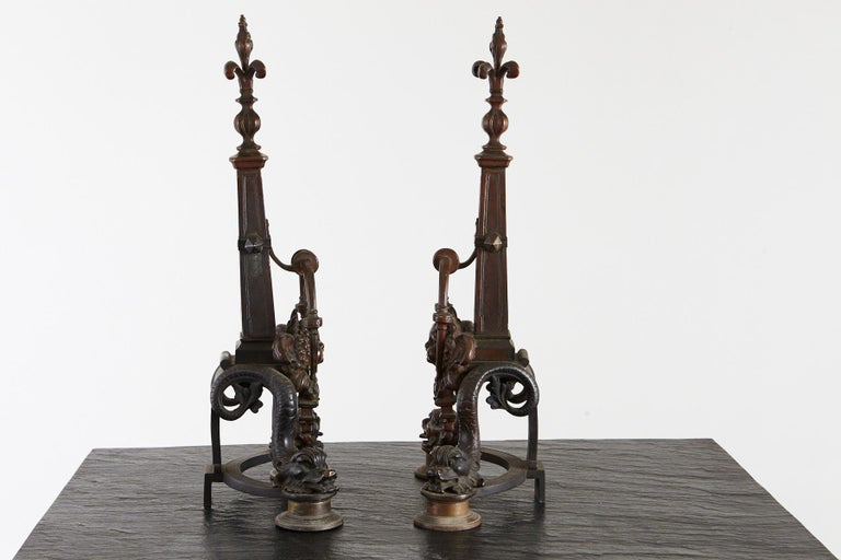 Pair of Late 19th Century French Baroque Bronze Andirons with Dolphin and Putti For Sale 4