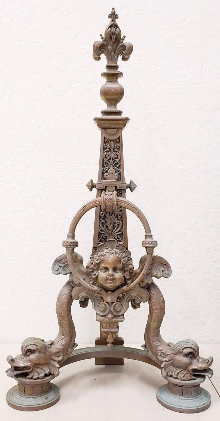 Cast Pair of Late 19th Century French Baroque Bronze Chenets / Andirons For Sale