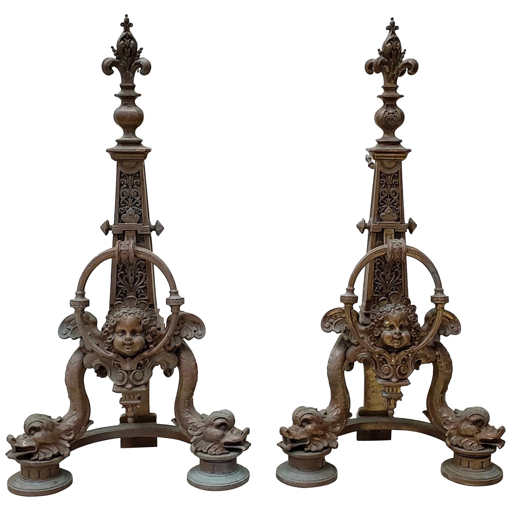 Pair of Late 19th Century French Baroque Bronze Chenets / Andirons