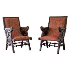 Pair of Late 19th Century French Carved Walnut Armchairs