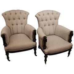 Pair of Late 19th Century French Ebonised Armchairs