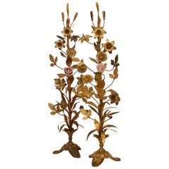 Pair of Late 19th Century French Gilded Brass and Porcelain Altar Decoration