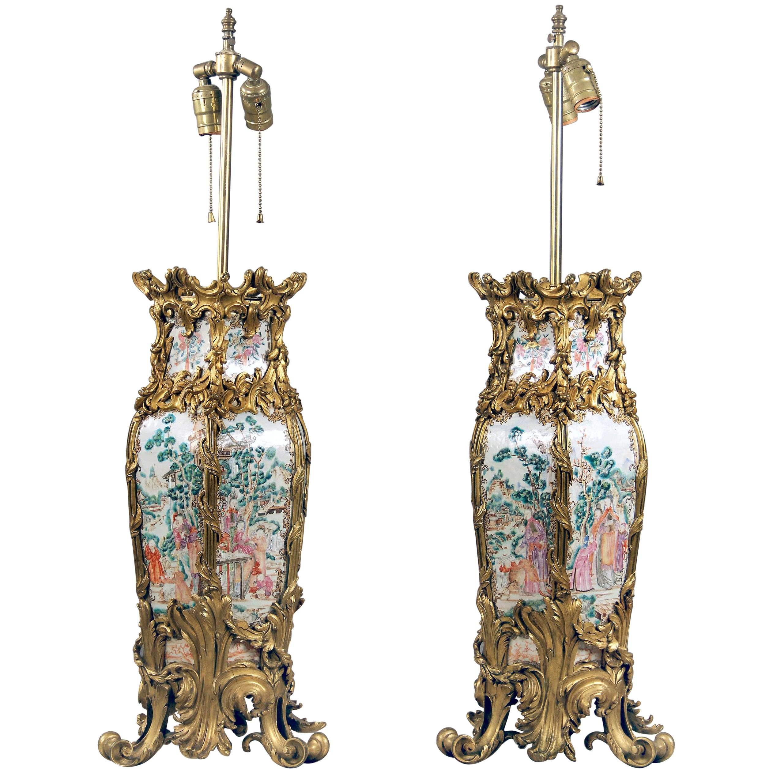 Pair of Late 19th Century French Gilt Bronze Mounted Chinese Porcelain Lamps