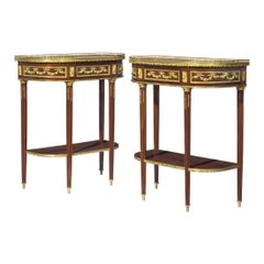 Pair of Late 19th Century French Gilt Bronze Mounted Mahogany Consoles