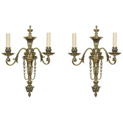 Pair of Late 19th Century French Gilt Metal Two Branch Wall Lights