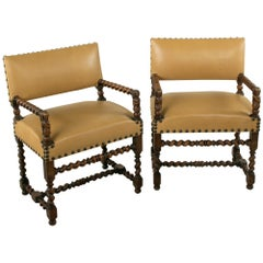 Pair of Late 19th Century French Louis XIII Style Walnut Armchairs, Leather Seat