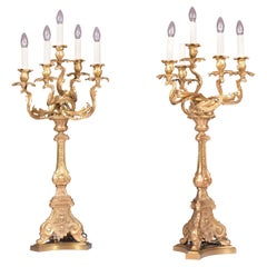 Pair of Late 19th Century French Ormolu Candelabra Lamps in the Louis XV Style