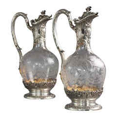 Pair of Late 19th Century French Silver and Crystal Claret Jugs, 1880