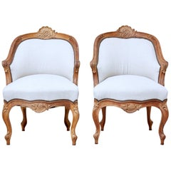 Pair of Late 19th Century French Walnut Armchairs