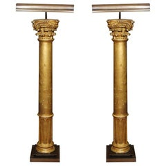 Pair of Late 19th Century Gilded Columns Made into Lamps Set on Steel Bases