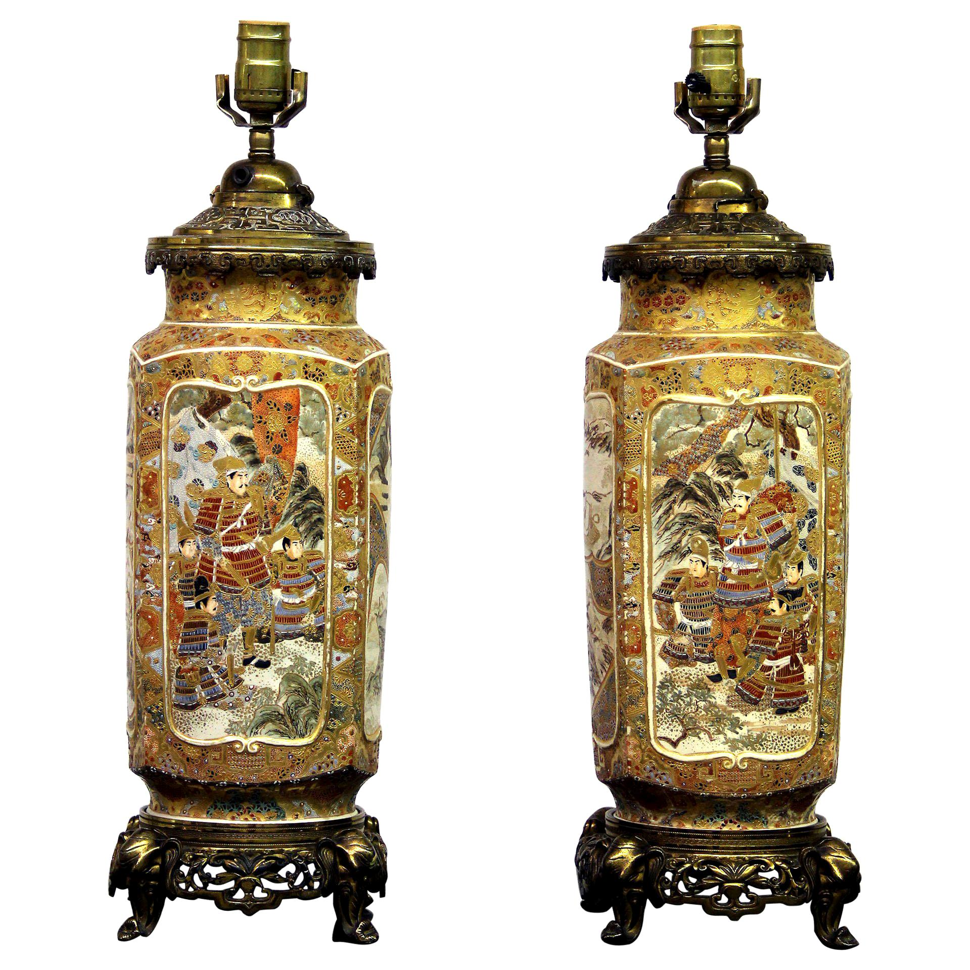 Pair of Late 19th Century Gilt Bronze and Japanese Satsuma Porcelain Lamps