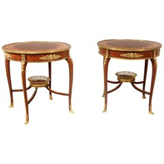 Pair of Late 19th Century Gilt Bronze Mounted Marquetry Tables by François Linke