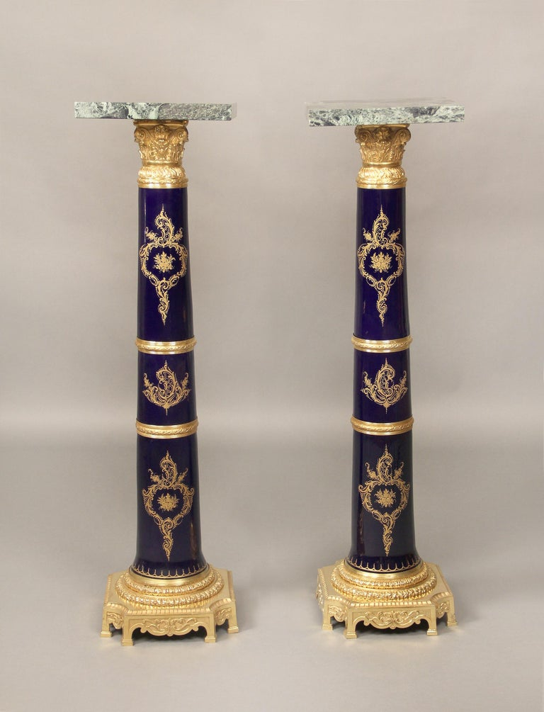 Marble Pair of Late 19th Century Gilt Bronze-Mounted Sèvres Style Pedestals For Sale