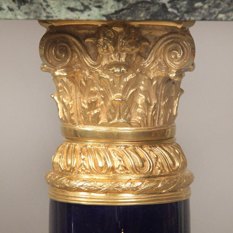 Pair of Late 19th Century Gilt Bronze-Mounted Sèvres Style Pedestals For Sale 2
