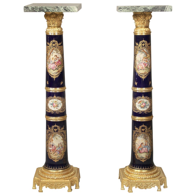 Pair of Late 19th Century Gilt Bronze-Mounted Sèvres Style Pedestals For Sale