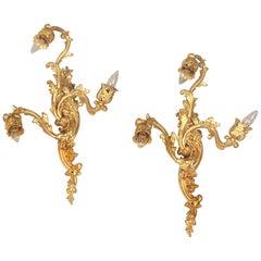 Pair of Late 19th Century Gilt Bronze Three-Light Sconces