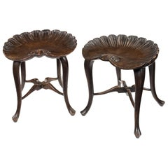Pair of Late 19th Century Grotto Stained Beech Scallop Shell Stools