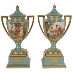 Pair of Late 19th Century Hand-Painted and Gilt Urns