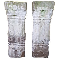 Pair of Late 19th Century Handcut Sandstone Pillars with Old White Paint