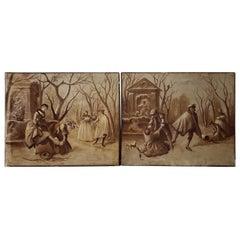"Pair of Late 19th Century ""Ice Skating"" Original European Oil Paintings"