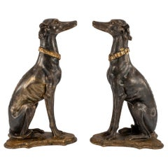Pair of Late 19th Century Italian Giltwood Greyhounds
