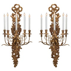 Pair of Late 19th Century Italian Giltwood Sconces