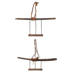Pair of Late 19th Century Laotian Swords on Custom Stands
