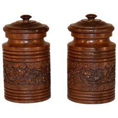 Pair of Late 19th Century Lidded Jars