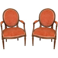 Pair of Late 19th Century Louis XVI Fruitwood Fauteuils