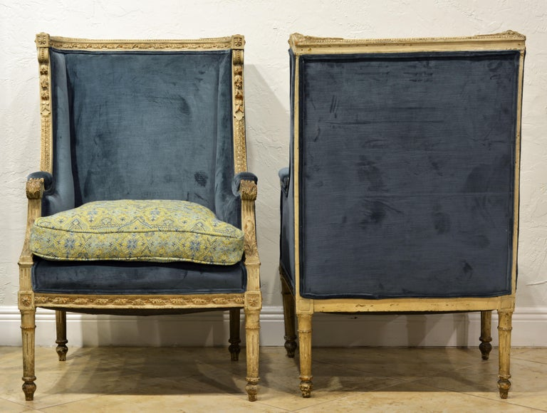 French Pair of Late 19th Century, Louis XVI Style Carved and Painted Bergères For Sale