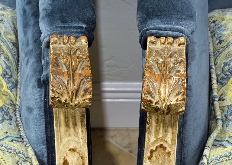 Pair of Late 19th Century, Louis XVI Style Carved and Painted Bergères In Good Condition For Sale In Ft. Lauderdale, FL