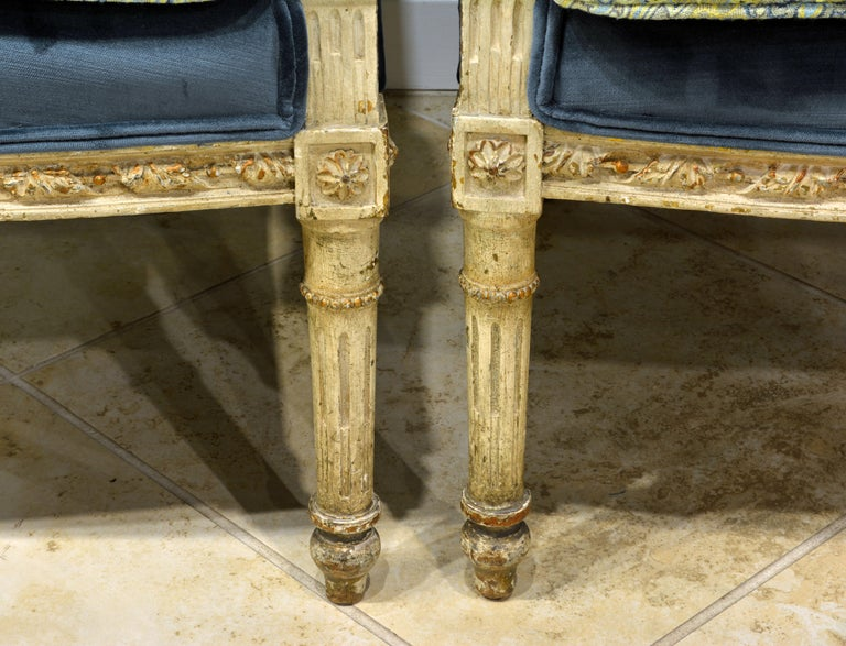 Upholstery Pair of Late 19th Century, Louis XVI Style Carved and Painted Bergères For Sale