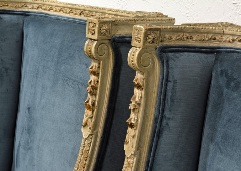 Pair of Late 19th Century, Louis XVI Style Carved and Painted Bergères For Sale 2