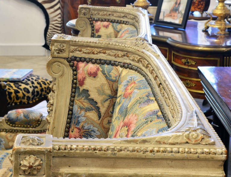 Pair of Late 19th Century, Louis XVI Style Carved Bergeres with Aubusson Cover 6
