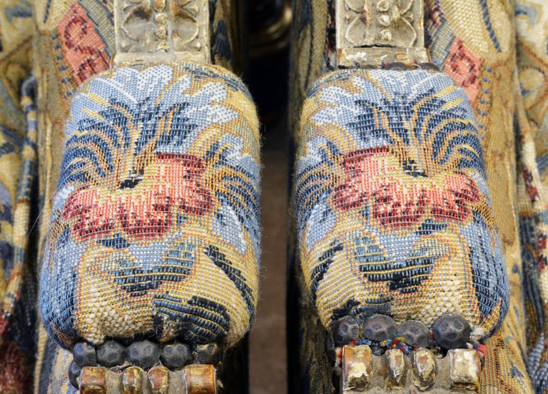 Pair of Late 19th Century, Louis XVI Style Carved Bergeres with Aubusson Cover 7