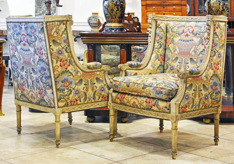 Pair of Late 19th Century, Louis XVI Style Carved Bergeres with Aubusson Cover In Good Condition In Ft. Lauderdale, FL