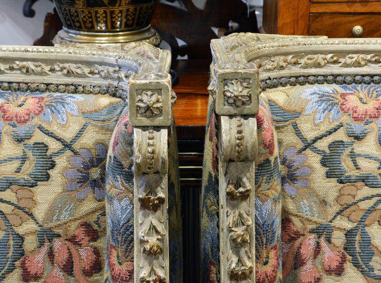 Wood Pair of Late 19th Century, Louis XVI Style Carved Bergeres with Aubusson Cover