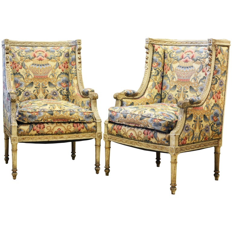 Pair of Late 19th Century, Louis XVI Style Carved Bergeres with Aubusson Cover