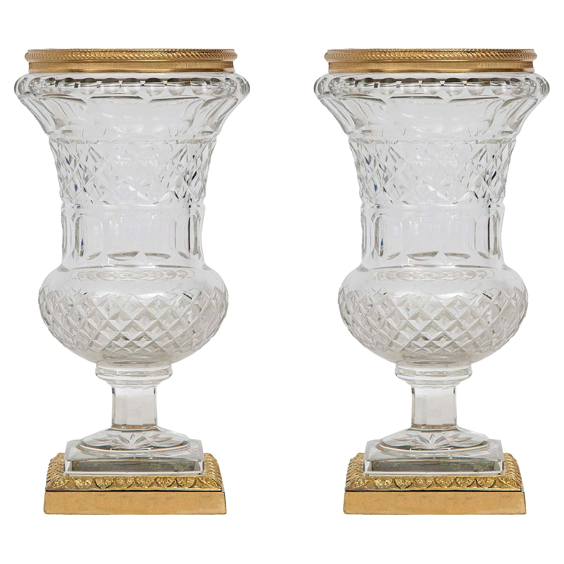 Pair of Late 19th Century Louis XVI Style Crystal and Ormolu-Mounted Vases