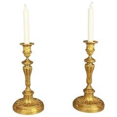 Pair of Late 19th Century Louis XVI Style Gilt-Bonze Candlesticks