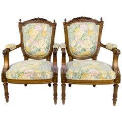 Pair of Late 19th Century Louis XVI Style Walnut Armchairs