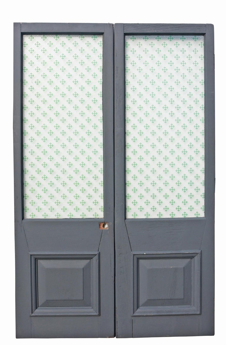 English Pair of Late 19th Century Mahogany Glazed Double Doors For Sale