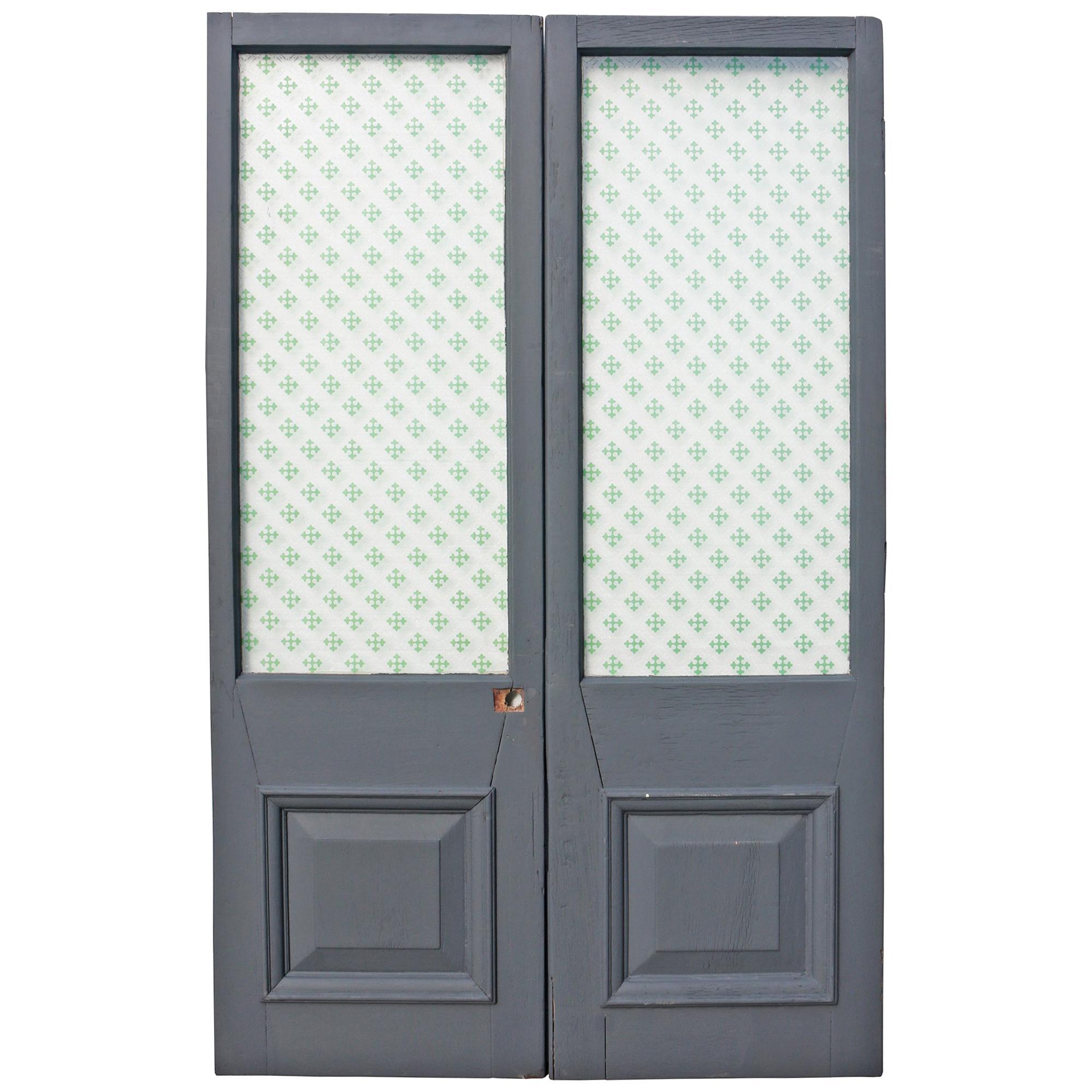 Pair of Late 19th Century Mahogany Glazed Double Doors